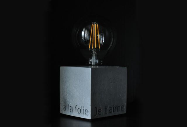 luminaires b ton acier inox r sine noo. Black Bedroom Furniture Sets. Home Design Ideas